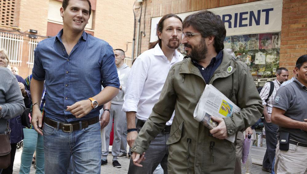 Albert Rivera y Pablo Iglesias acompañan a Jordi Évole en 'Salvados'
