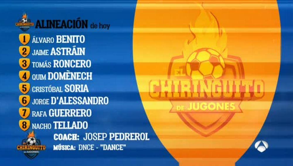 Alineación de 'El Chiringuito' el domingo, 11 de febrero