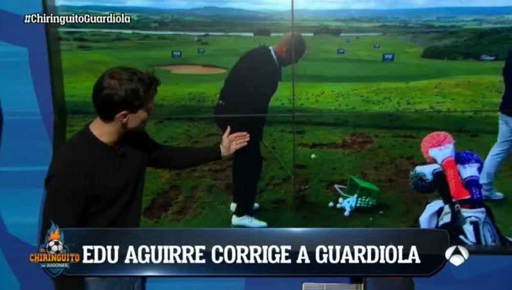 Edu Aguirre corrige la técnica de golf de Guardiola