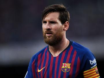 Leo Messi en un partido de liga