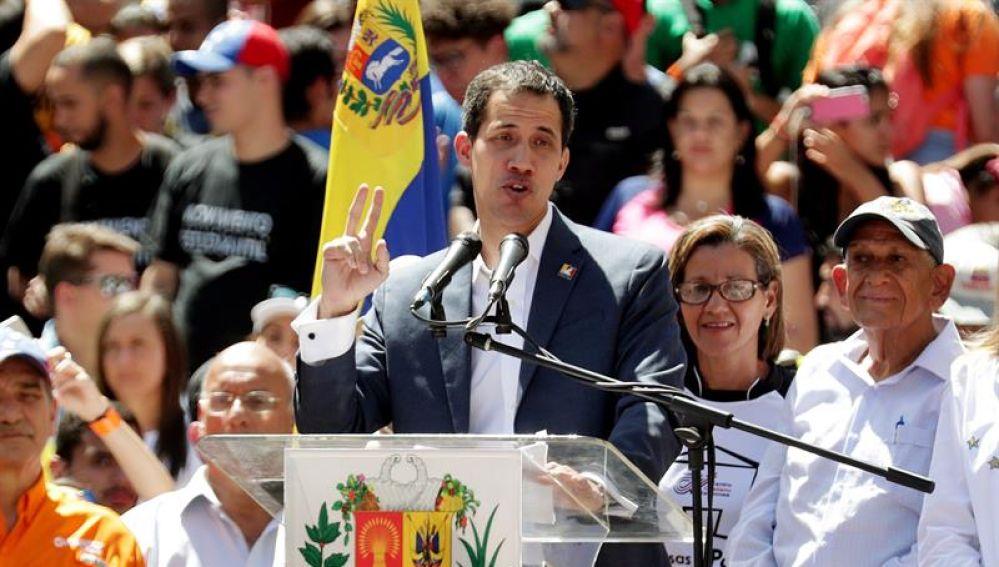 Juan Guaidó, durante un mitin en Caracas.