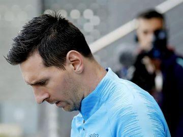 Leo Messi durante el entrenamiento del Barça