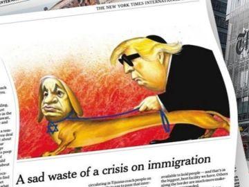 La caricatura de Trump y Netanyahu caracterizados en The New York Times