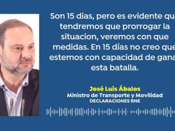 """José Luis Ábalos: """"El estado de alarma se extenderá más allá de 15 días por no ser suficientes para frenar el coronavirus"""""""