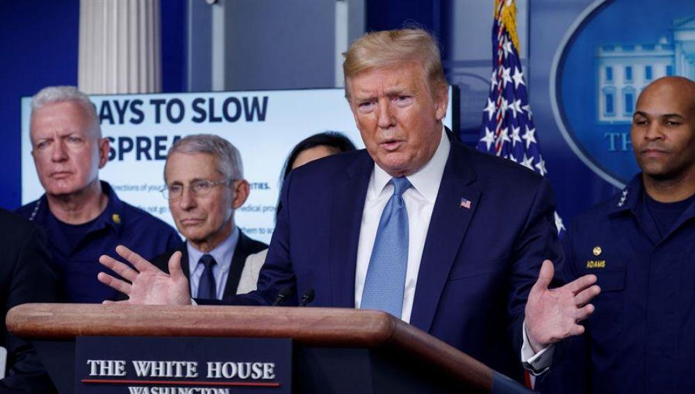 Donald Trump, desde la sala de prensa de la Casa Blanca