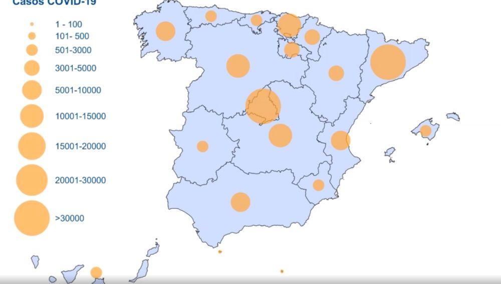 Mapa del coronavirus en España hoy: Casos de contagios, muertes y curados en tiempo real