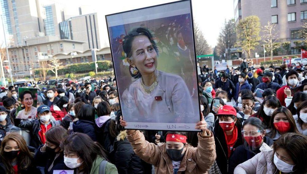 Protesta en Myanmar