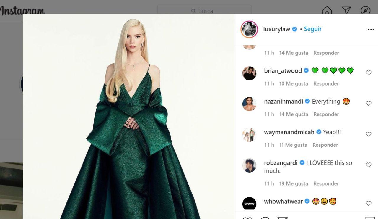 Anya Taylor-Joy eligió un vestido verde de Dior para los Globos de Oro