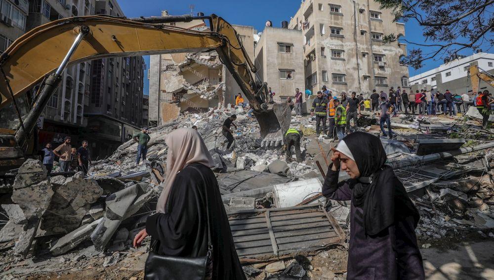 Edificios destruidos en Gaza tras un bombardeo israelí