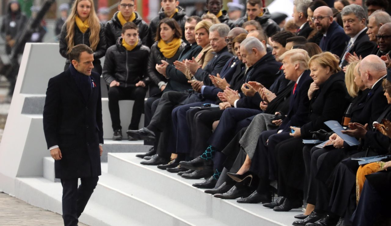Emmanuel Macron durante los actos del centenario del Armisticio