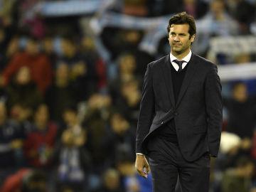 Solari, durante el partido contra el Celta de Vigo