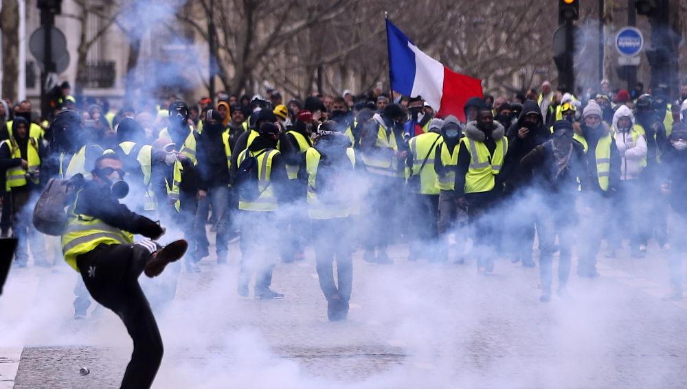 Los 'chalecos amarillos' en las calles de París