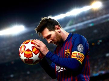 Leo Messi, en acción ante el United