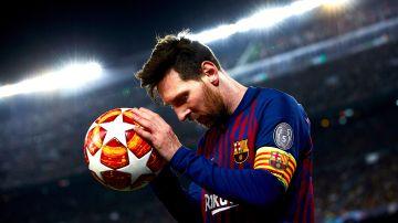 Leo Messi, en acción ante el United