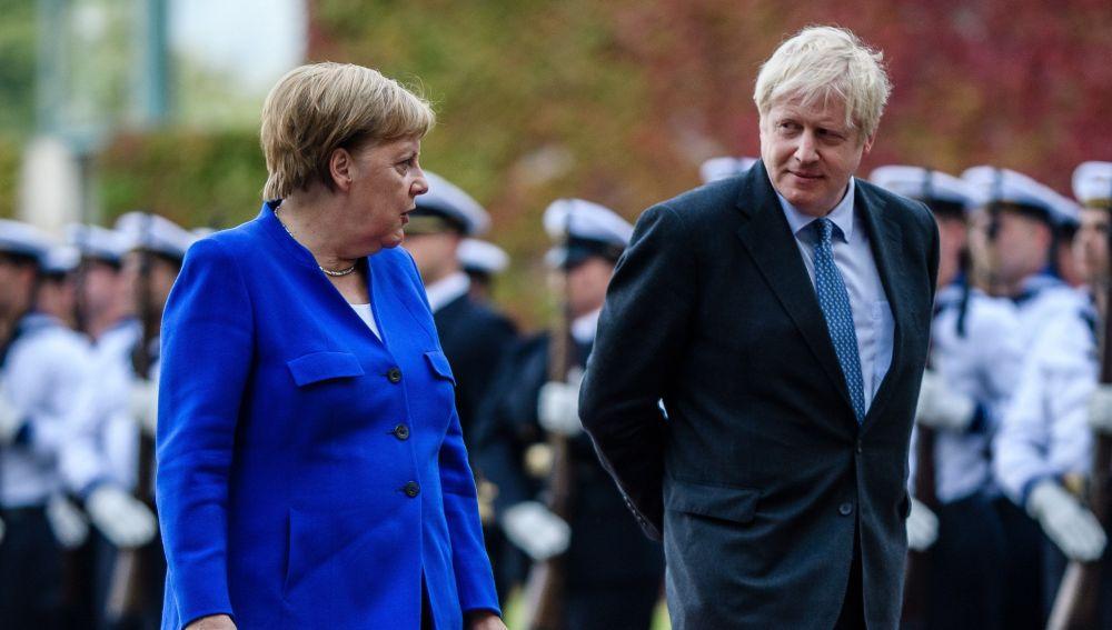 Angela Merkel y Boris Johnson en Berlín