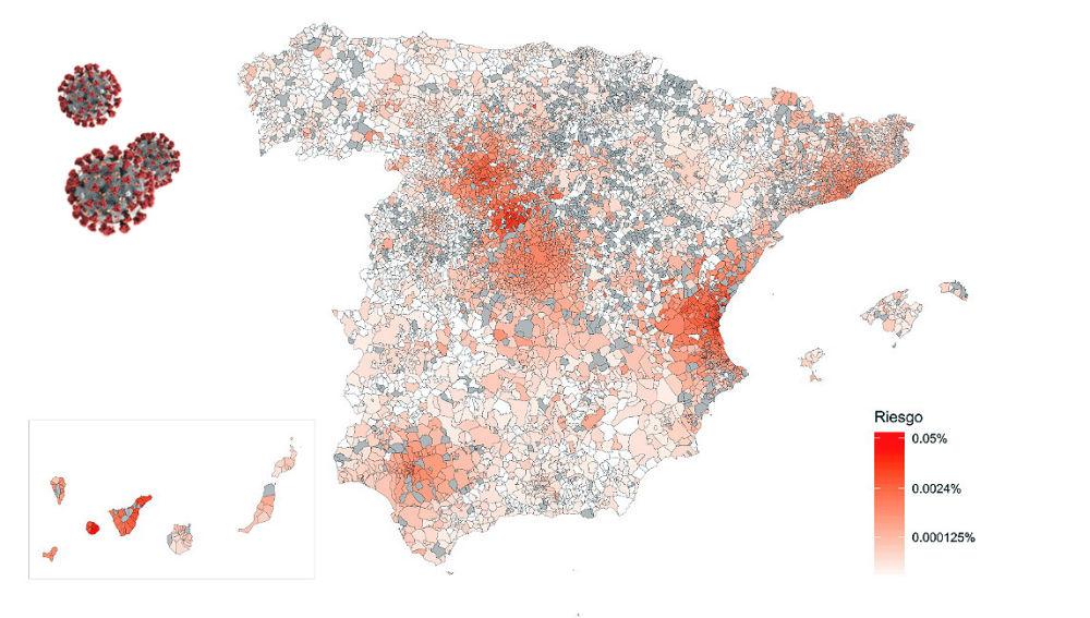 Mapa de riesgo de propagacion del coronavirus en Espana