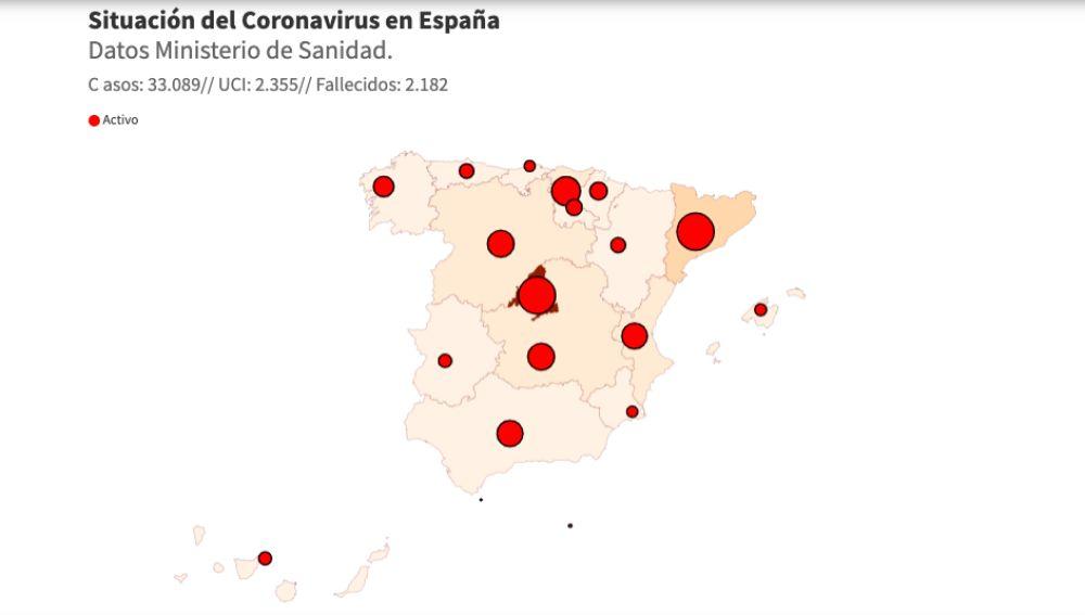 Mapas de contagios de coronavirus en España