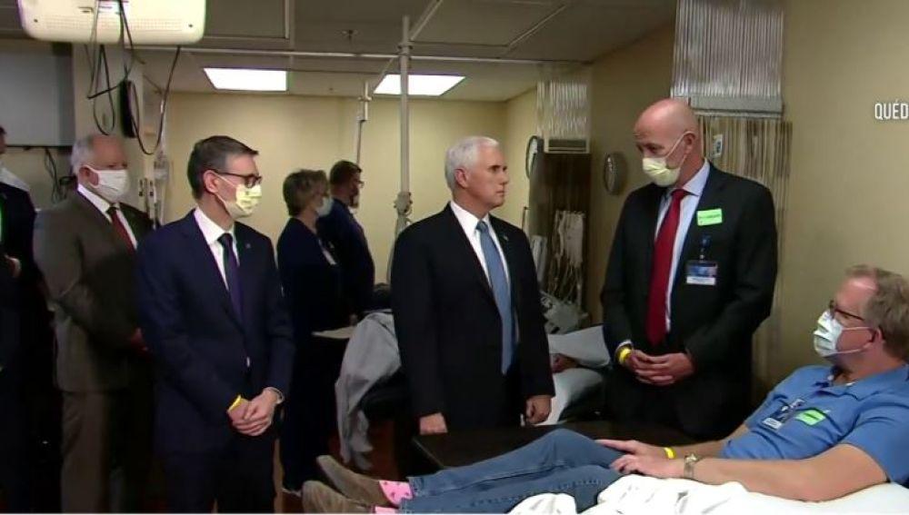 Mike Pence sin mascarilla