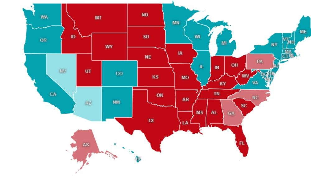 Mapa de resultados en las elecciones de EEUU