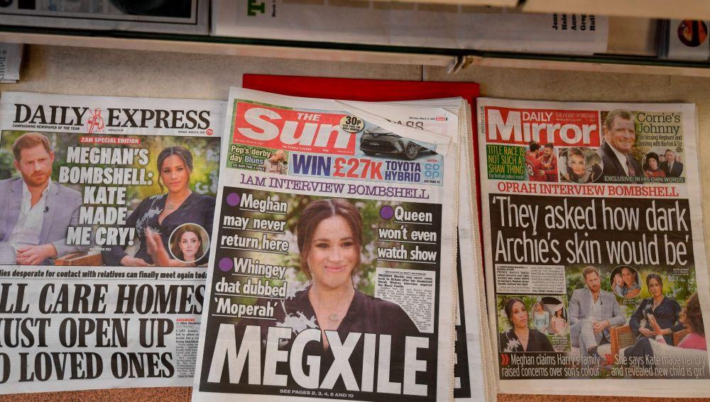 Titulares de la entrevista de Harry y Meghan en la prensa británica.
