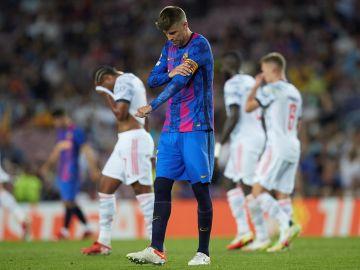 Gerard Piqué en el partido de fútbol de la Liga de Campeones de la UEFA del Fútbol Club Barcelona